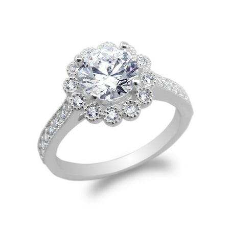 Flower Shaped Ring - 10K White Gold Round CZ Flower Shaped Halo Ring Size 4-10