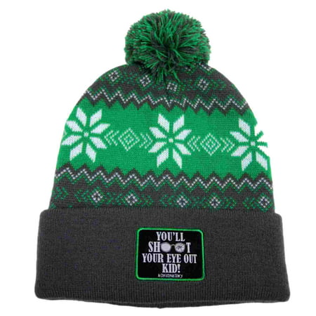 A Christmas Story Mens Green You'll Shoot Your Eye Out Beanie Stocking Cap Hat (Men Stocking Cap)