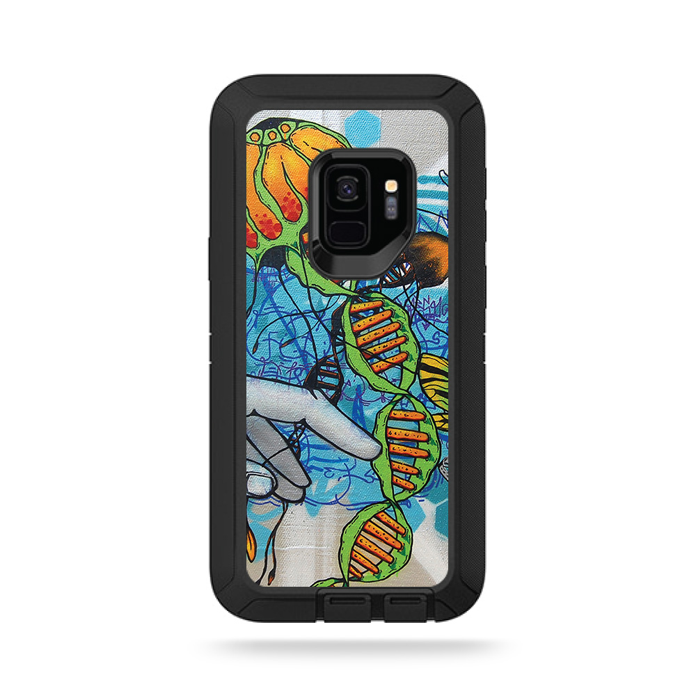MightySkins Skin For OtterBox Commuter Galaxy S9 - Abstract Black | Protective, Durable, and Unique Vinyl Decal wrap cover | Easy To Apply, Remove, and Change Styles | Made in the USA