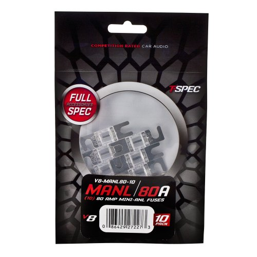 T-Spec V8-MANL80-10 MINI ANL FUSES v8 SERIES NICKEL PLATED-10 PACK