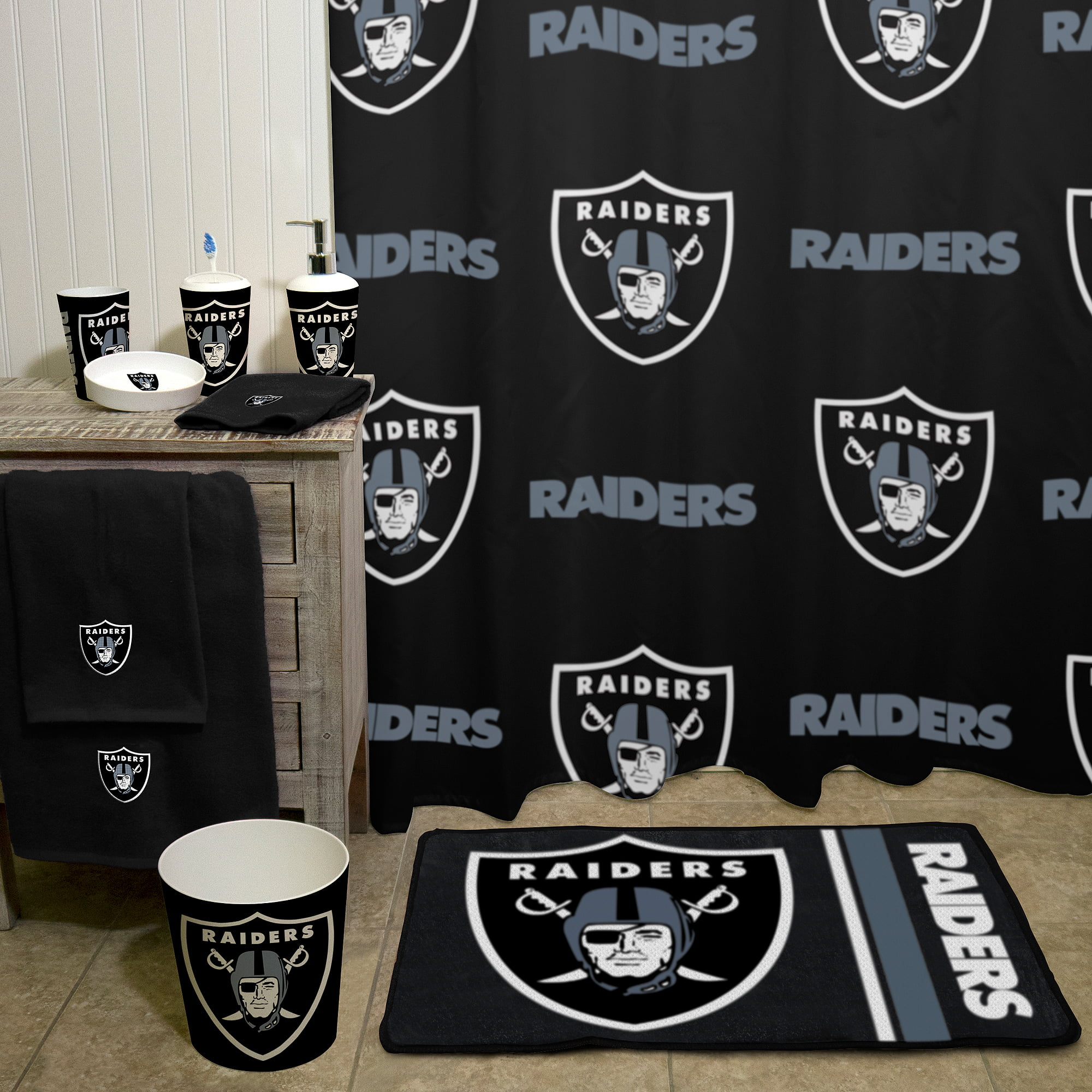 Elegant NFL Oakland Raiders Decorative Bath Collection   Shower Curtain    Walmart.com