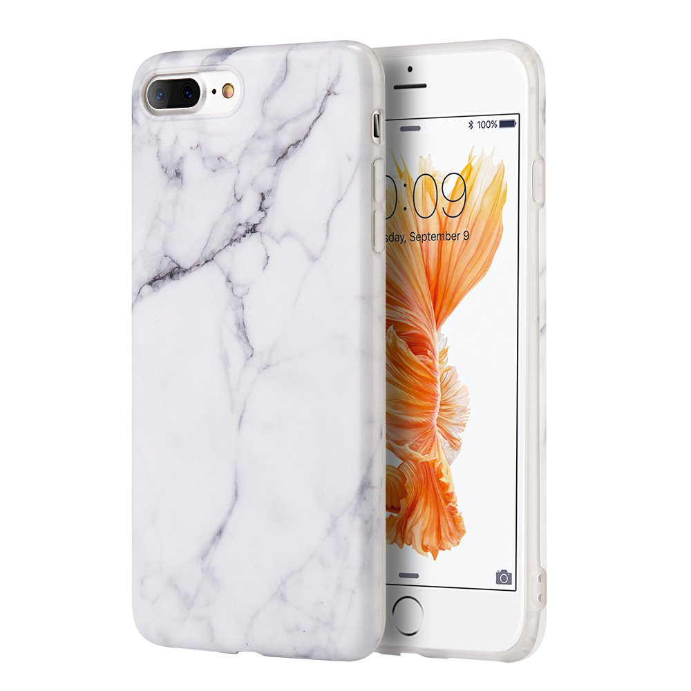 iPhone 7 Plus 5.5 Inch Case Marble IMD Slim Fit Anti Scratch Shock Proof Anti Finger Print Flexible Soft TPU Protective Case - White