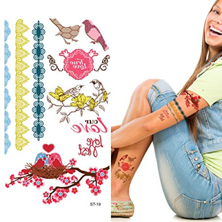 Supperb Temporary Tattoos - Love Bird - NEW - Tattoos Birds