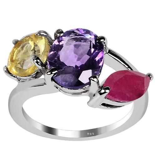 Orchid Jewelry 925 Sterling Silver 4 11/20ct Amethyst, Citrine and Ruby 3-stone Ring OJR-3089_7 4.55ct Amethyst, Ruby & Citrine Ring