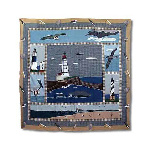Patch Magic Lighthouse By Bay Cotton Shower Curtain