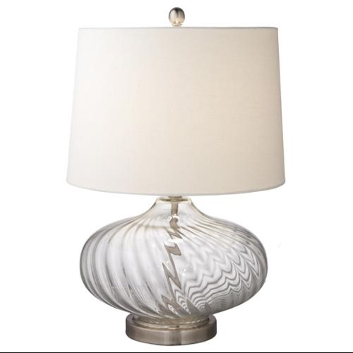 """23.5"""" Oversized Clear Glass Swirl Table Lamp with Bright White Fabric Shade"""