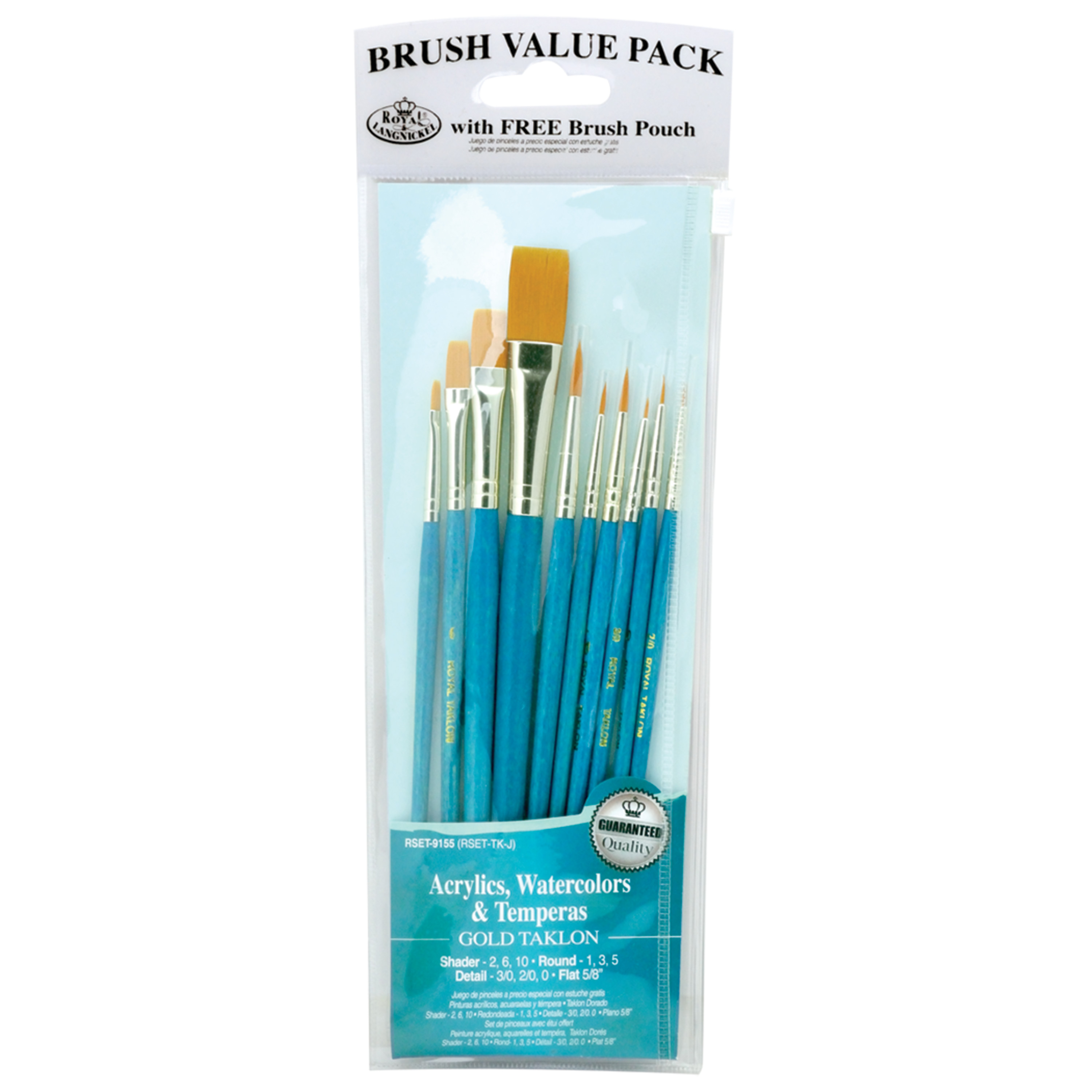 Royal & Langnickel Golden Talkon All Media Brush Set, 10 Piece