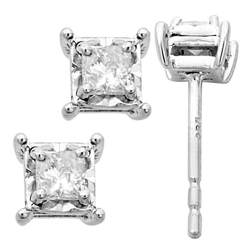 1/4 Carat T.W. Princess-Cut Diamond Sterling Silver Stud Earrings