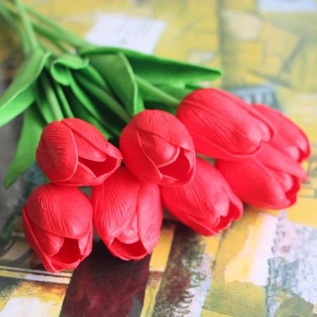 Fancyleo 10Pcs Simulation Tulip Flowers Tulips Wedding Flowers Simulation PU Tulip Flowers Suitable for Marriage Party Family Hotel Event Christmas Gift Decoration(Not Include Vase) ()