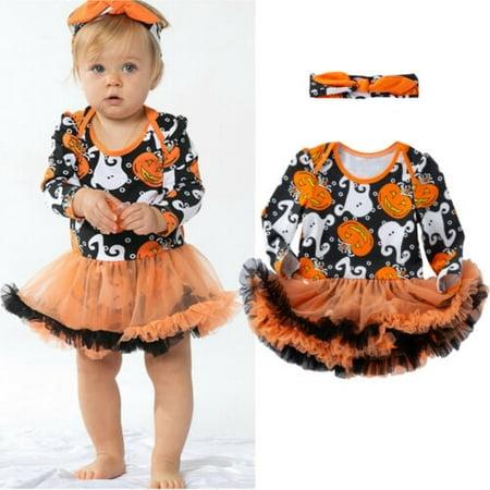 Loom Bands Halloween Ghost (Pudcoco Halloween Baby Girls Ghost Pumpkin Fancy Dress Party Tutu Romper Headband)