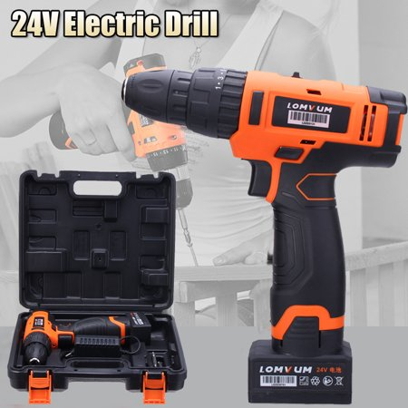 Mini Portable 24V Cordless Electric Drill Screwdriver Inpact Wrench Rechargeable Lithium Ion Li-Battery 2 Speed Power Tools Hammer Home Decor Driver 0-1450R/MIN Household With Case