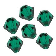 36 pcs Swarovski crystal 5328 / 5301 6mm EMERALD (205) Genuine Loose Bicone Beads