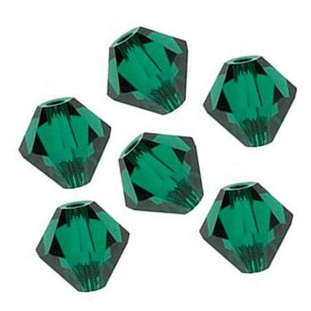 180 pcs Swarovski crystal 5328 / 5301 6mm EMERALD (205) Genuine Loose Bicone Beads