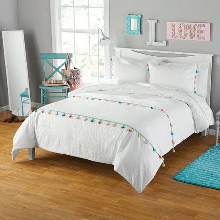 Your Zone Seersucker Tassel Comforter Amp Sham Set 1 Each