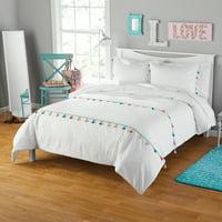 Your Zone Seersucker Tassel Comforter & Sham Set, 1 Each