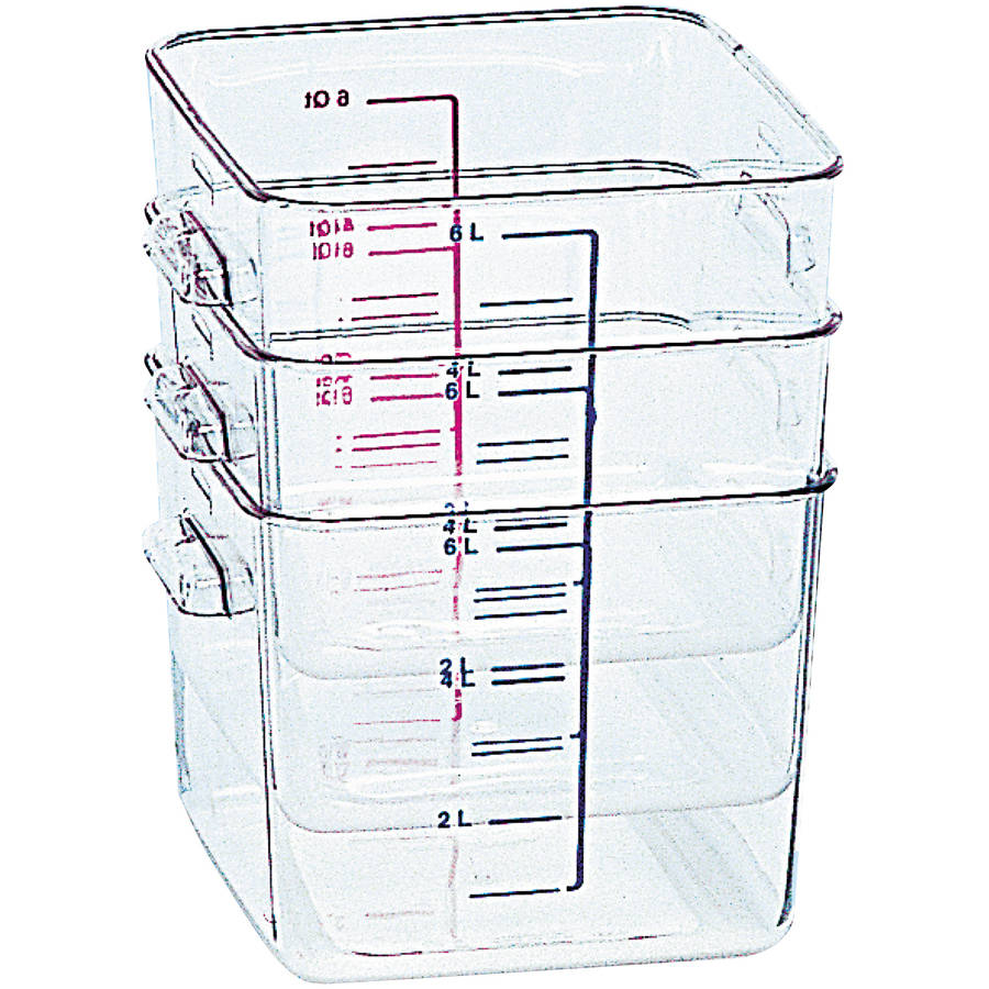 Rubbermaid Commercial SpaceSaver 8 Quart Square Container, Clear
