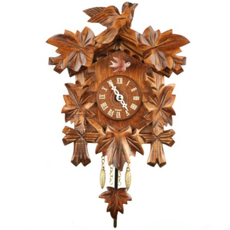 Carved Bird and Leaf Cuckoo Clock
