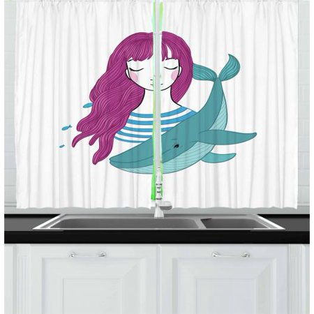 Girls Curtains 2 Panels Set, Illustration of a Teenage Girl with Closed Eyes and a Funny Whale, Window Drapes for Living Room Bedroom, 55W X 39L Inches, Magenta Turquoise and Blue, by (Cool Bedroom Ideas For Teenage Girls Home)