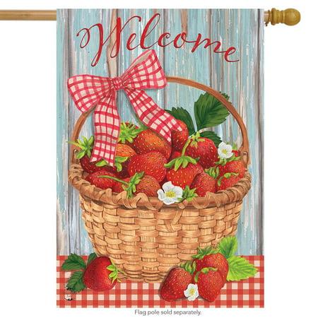 strawberries summer house flag fruit 28  x 40  briarwood lane strawberries summer house flag fruit 28  x 40  briarwood lane