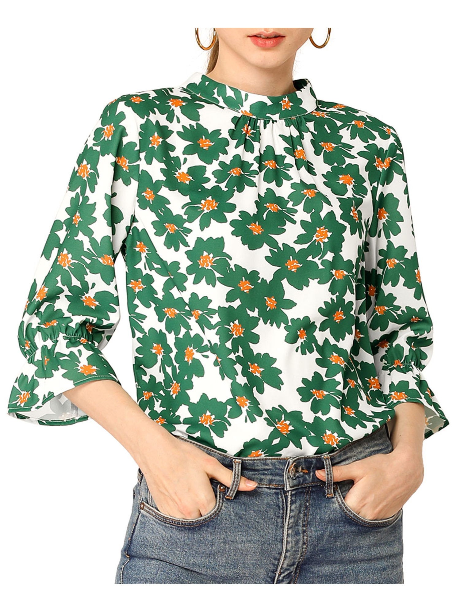 Allegra K  Allegra K Women's Ruffle 3/4 Sleeves Pleated Stand Collar Floral Printed Blouse Top S Green