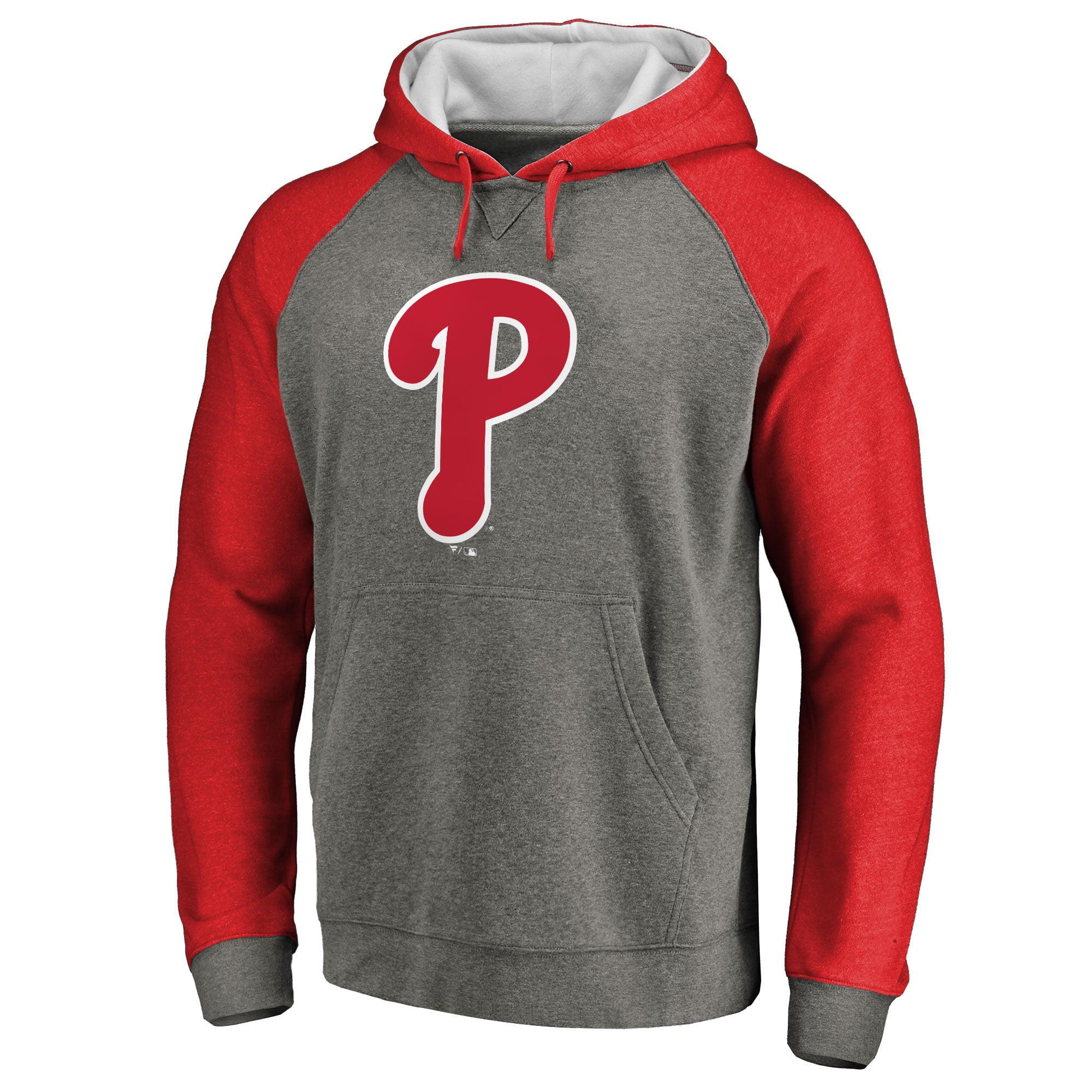 Philadelphia Phillies Primary Logo Raglan Sleeve Tri-Blend Pullover Hoodie - Ash