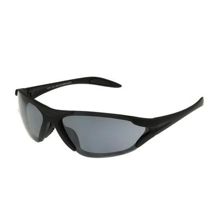 Foster Grant Men's Black Mirrored Wrap Sunglasses (Mirrored Wrap Around Sunglasses)