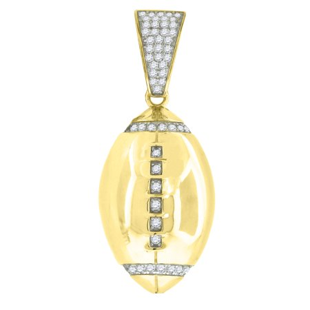 Yellow-tone Sterling Silver Mens Round Cubic Zirconia CZ Football Charm Pendant Round Mens Charm