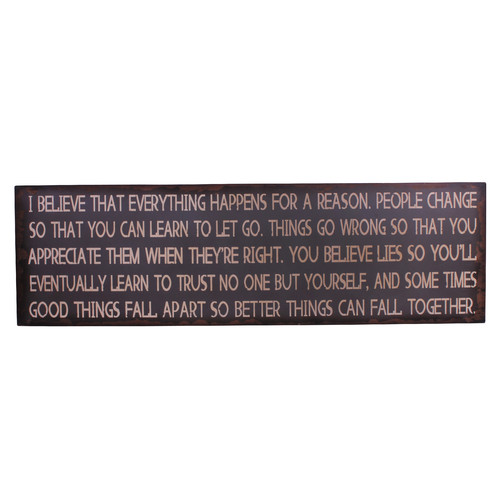 Attraction Design Home ''I Believe that Everything Happens for a Reason'' Antique Wisdom Sign Wall D cor