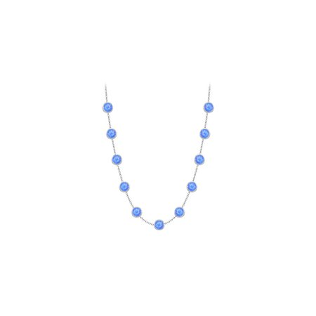Blue Created Sapphires Necklace on 14K White Gold Bezel Set 3.00 ct.tw - image 2 of 2