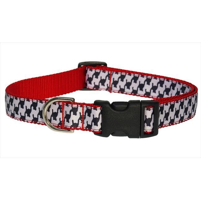 Sassy Dog Wear HERRINGBONE-WHITE-BLK.3-C Houndstooth Dog Collar, Black & White - Medium