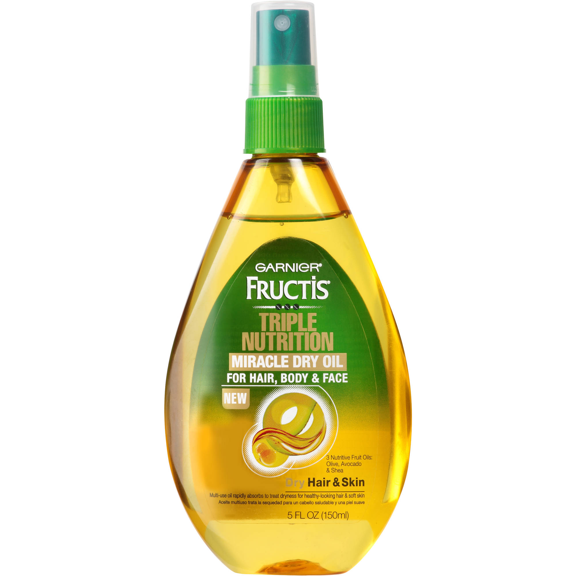 Garnier Fructis Triple Nutrition Miracle Dry Oil for Hair, Body & Face, 5 fl oz