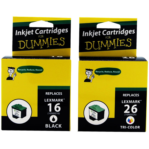 For Dummies - Lexmark #16, #26 Black and Color Combo Inkjet Cartridges (10N0202) 2 Pack, Remanufactured