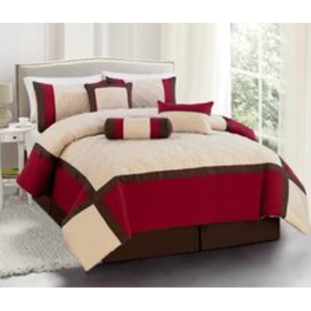 Legacy Decor 7 Pc Burgundy Brown And Beige Striped Comforter Set With Diamond Stitch Design