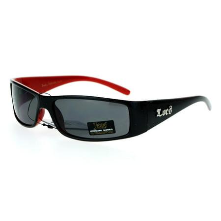 Locs 2 Tone Rectangular Cholo Gangster Warp Biker Thick Arm Sunglasses Black (Locks Sunglasses)