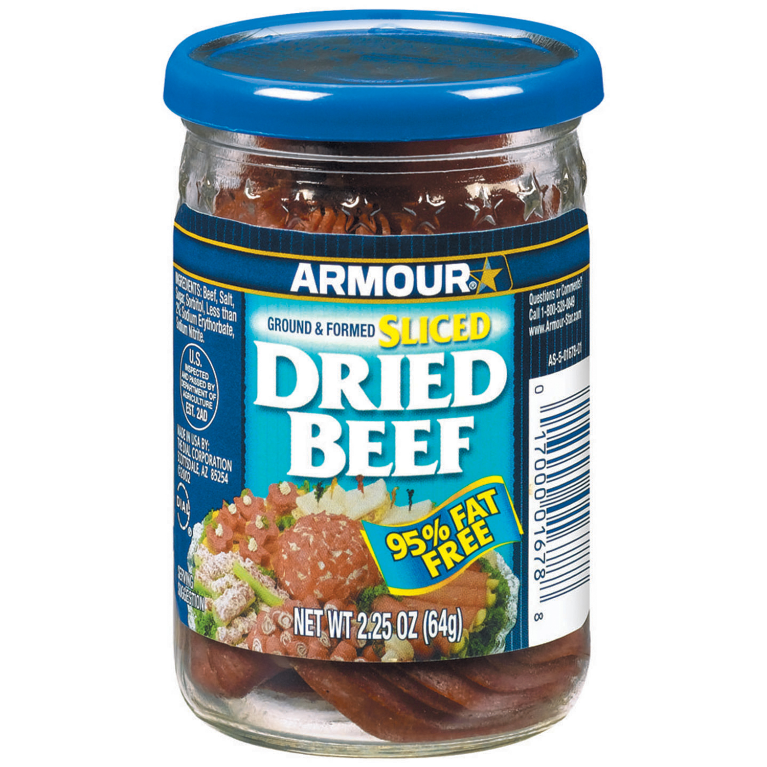 Armour Sliced 95% Fat Free Beef Dried 2.25 Oz Jar
