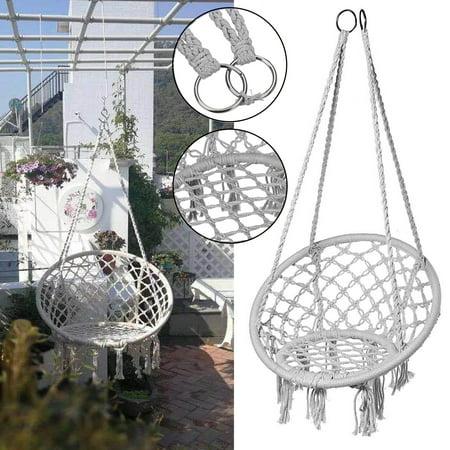 Hammock Chair Hanging Swing Chair Mesh Woven Macrame Swing Garden Indoor Outdoor Patio Home Decor Christmas Gifts