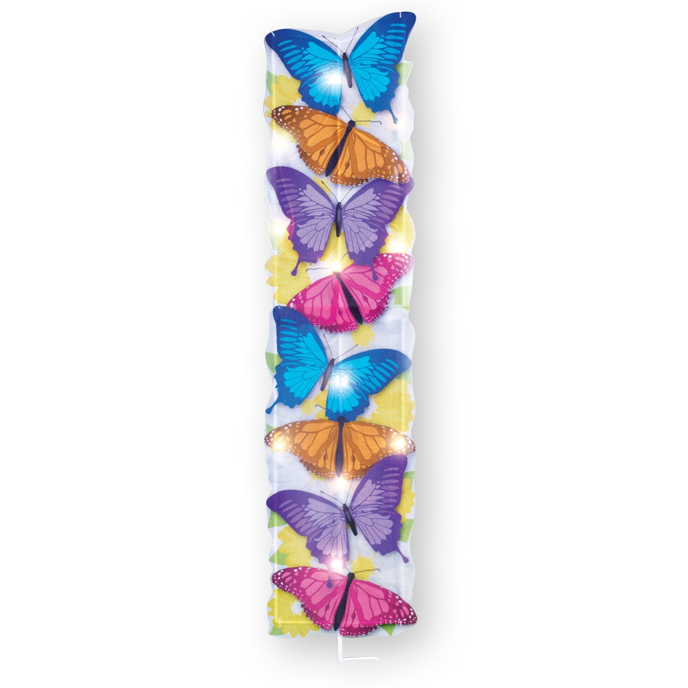 Lighted Stacked Butterfly Garden Decor Yard Stake