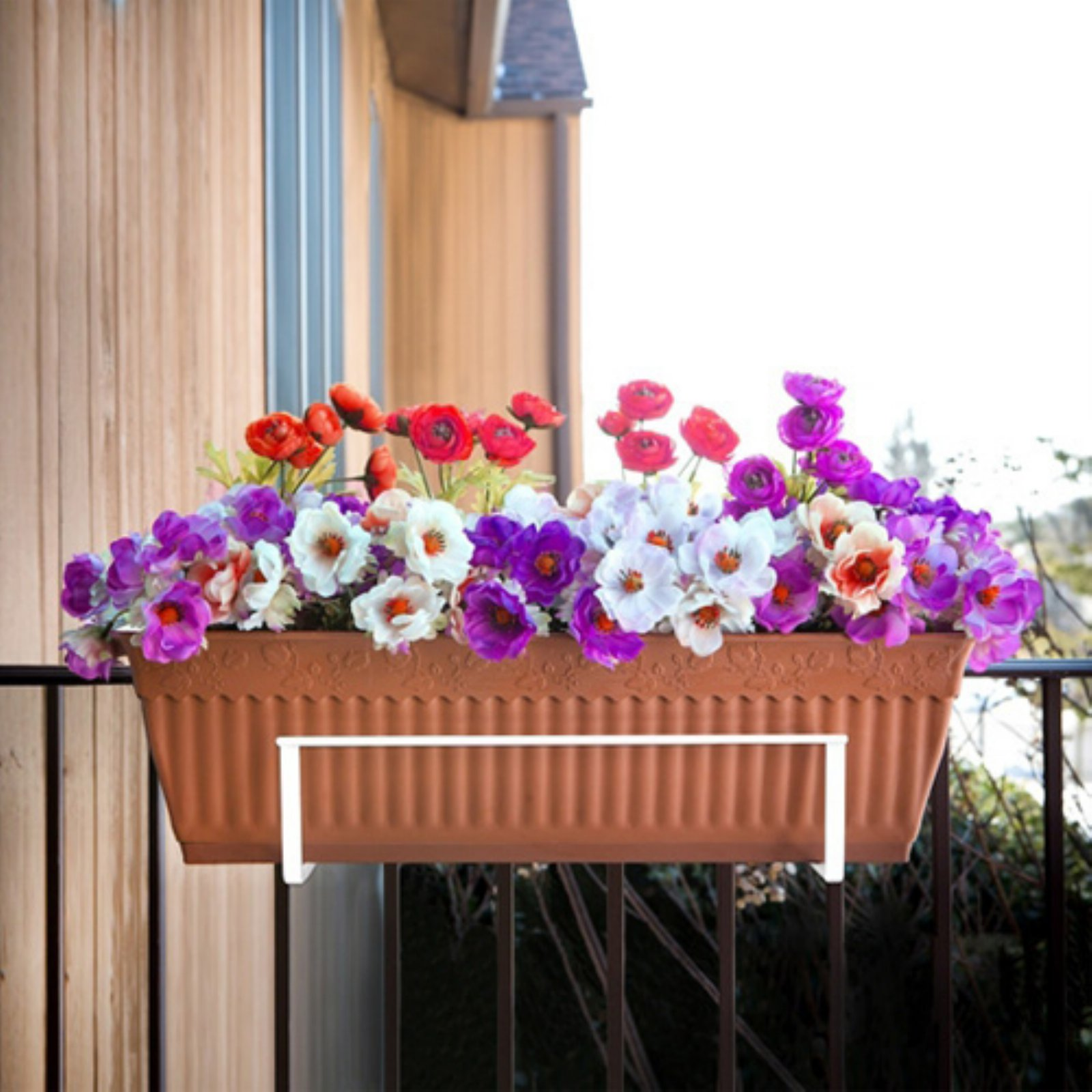 Sun Joe Deco Joe Adjustable Flower Box Holder - White