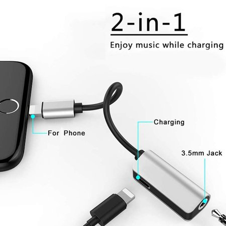 2 in 1 Lightning Splitter Adapter, Double Lightning to 3.5mm iPhone Headphone AUX Audio Jack Adapter, Dual Ports Music & Charging Connector Cable Compatible w/ iPhoneXS Max/XS/XR/X/7/8/7 Plus/8 Plus ()