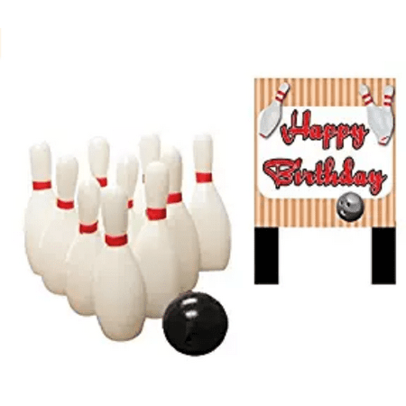 Bowling Pins and Ball & Happy Birthday Plaque Cake Decoration Topper](Happy Halloween Birthday Cakes)