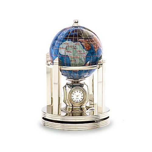 Kalifano Marine Blue 3-in. Gemstone Globe and Light Gold Galleon Rotating Base