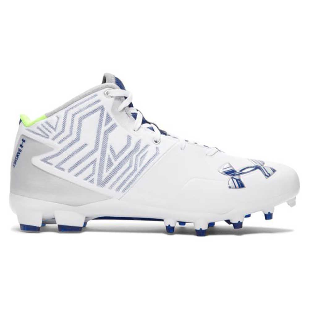 NEW Mens Under Armour Banshee Mid Lacrosse / Football Cleats White / Navy Sz 16M
