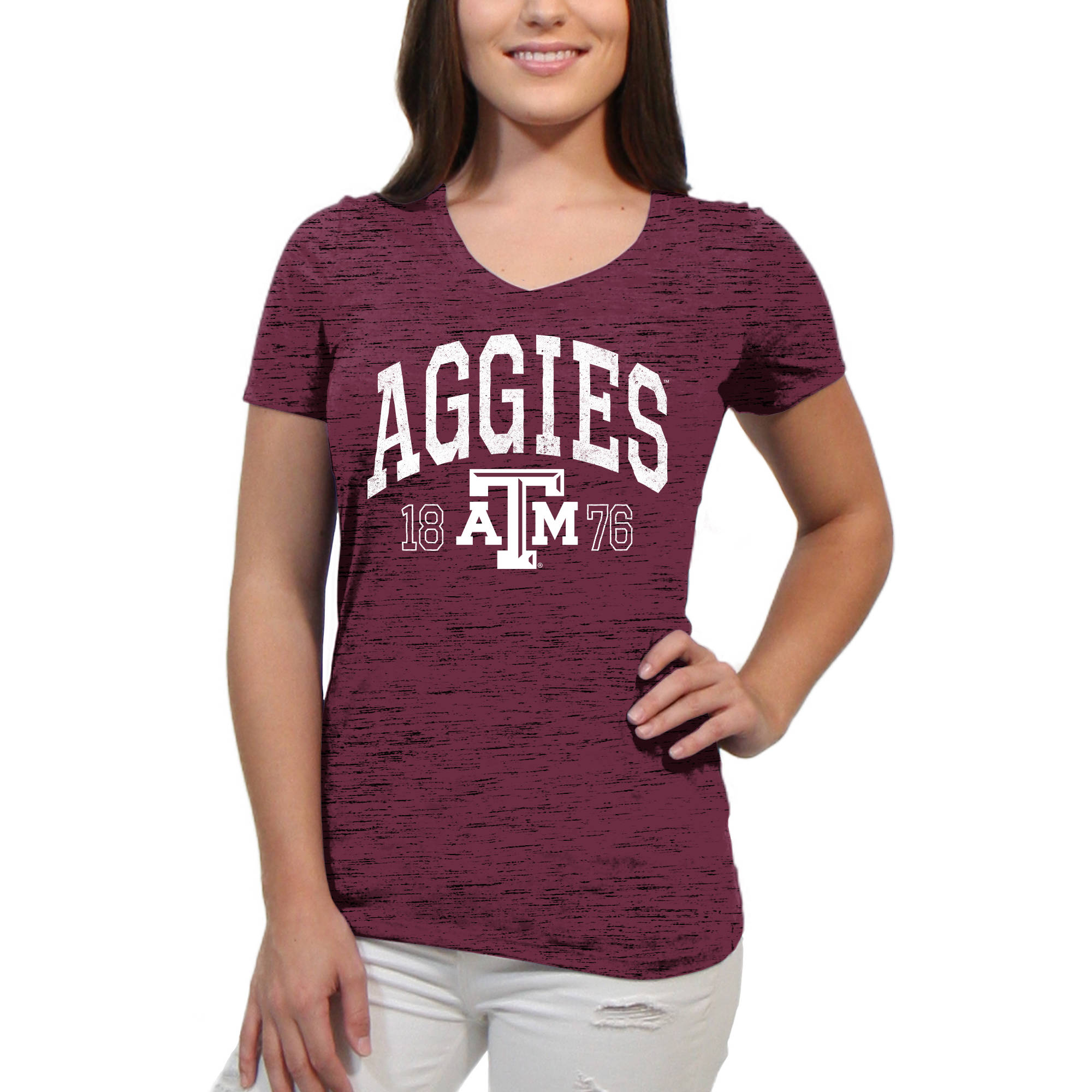 Texas A&M Aggies Text Overlay Women's/Juniors Team Short Sleeve V Neck Tee Shirt
