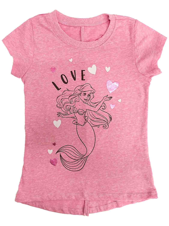 Disney Princess Toddler Girls Pink Ariel Little Mermaid Valentines Shirt