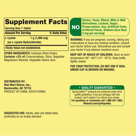(2 Pack) Spring Valley L-Lysine Tablets, 1000mg, 100 Ct