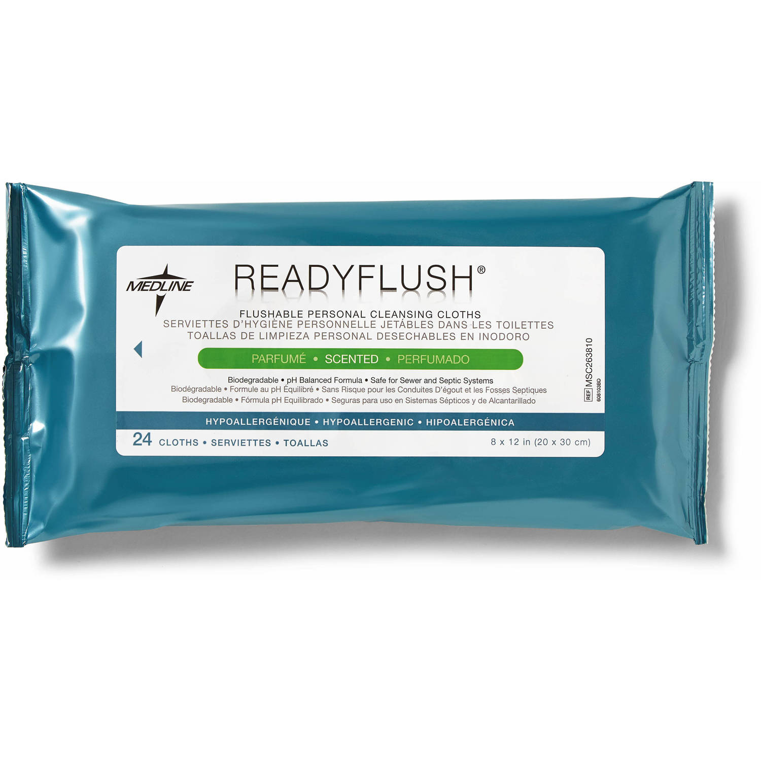 Medline ReadyFlush Flushable Cleansing Wipes, Scented, Case of 576