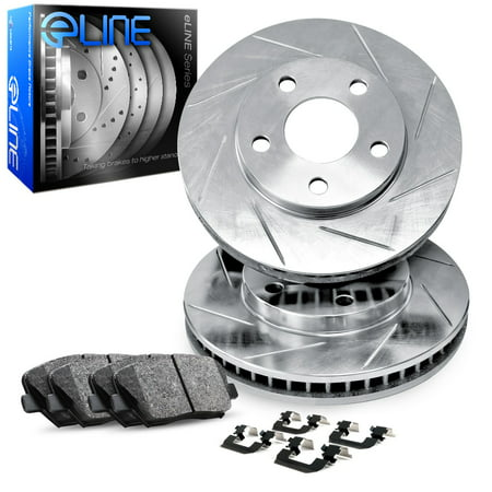 For 1995 Isuzu Rodeo Front eLine Slotted Brake Rotors + Ceramic Brake Pads
