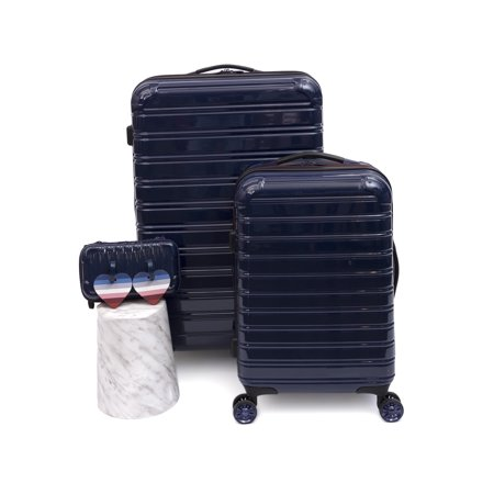EV1 x iFLY Hardside Fibertech Luggage 3- Piece Set with Heart-Shaped Luggage Tags and Striped Multi-Colored Interior