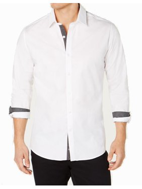 Mens Large Contrast Trim Dress Shirt L