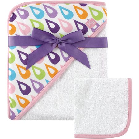 Hudson Baby Woven Hooded Towel with Washcloth, Purple